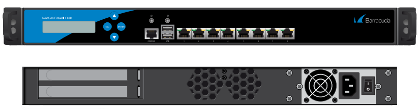 BNGIF400a - Barracuda NextGen Firewall F400 standard model (8 RJ45 network ports and single power supply)