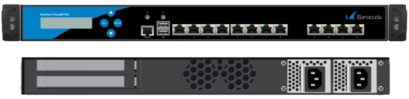 BNGIF600a.C20 - Barracuda NextGen Firewall F600 model C20 (12 RJ45 network ports and dual power supply)