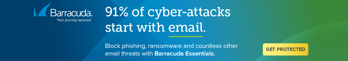 91% of cyber-attacks start with email. Block Phishing, ransomware and countless other email threats with Barracuda Essentials. Get Protected now!